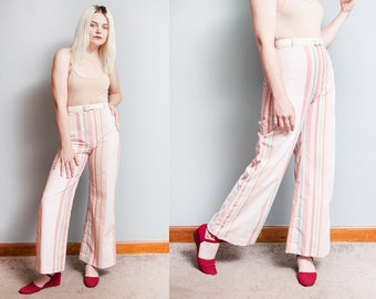 Vintage 1970's | Striped | High Waist | Lightweight | High Rise | Flare | Pants | XS/S