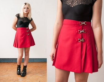 Vintage 1990's | NWT | Red | Pleated | School Girl | Mini | Skirt | S