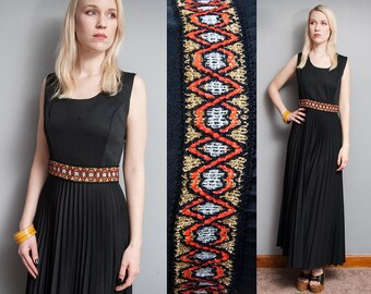 Vintage 1970's I Black | Accordion Pleated | NWT | Never Worn | Metallic Waistline | Boho | Maxi | Dress | S