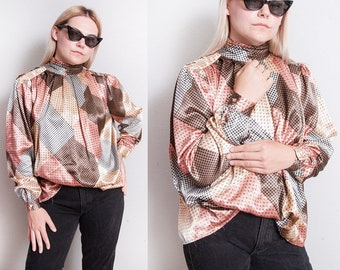 Vintage 1970's/1980's | Mixed Pattern | OS | Full | Princess Sleeve | Blouse | Top | OS or SML
