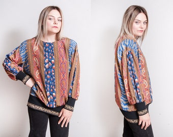 Vintage 1980's | Printed | Patterned | Paisley | Pullover | Blouse | Top | M/L
