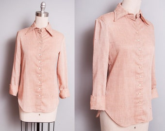 Vintage 1970's | ANNE KLEIN | Button Down | Blouse | Top | XS/S