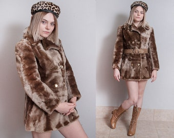 Vintage 1960's | Brown | Faux Fur | Double Breasted | MOD | Mid Century | Coat | S