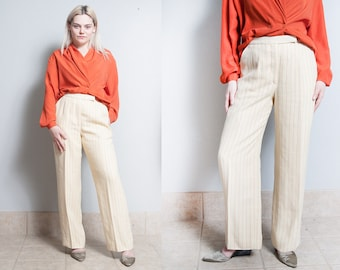 Vintage 1980's/1990's | LOUIS FERAUD | France | Designer | Ivory & Orange | Pinstripe | Trouser | Pants | S