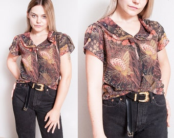 Vintage 1970's | Floral | Butterfly | Button Down | Sheer | Blouse | Top | S/M
