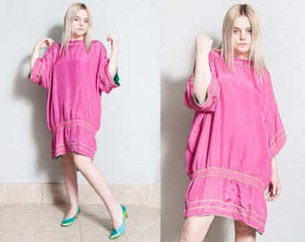 Vintage 1980's | OS | Reversible | Hot Pink & Teal | Dress | Tunic | SML