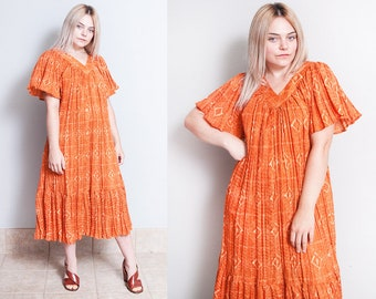 Vintage 1970's | Orange | Full | Bohemian | Dress | One Size