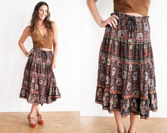 Vintage 1970's | Brown | 100% Cotton | Gauze | Floral | Skirt | Made in India | S/M