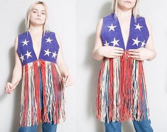 Vintage 1960's/1970's | Suede | Long Fringe | Star & Stripes | American Flag | Vest | M