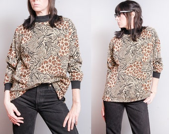 Vintage 1980's | Mixed Pattern | Animal Print | Leopard | Pullover | 100% Cotton | Top | SML