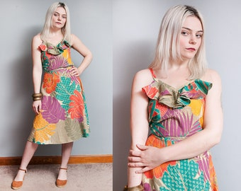 Vintage 1980's | Bright | Colorful | Tropical | Leaf Motif | 2 Piece Set | Outfit | Top | Wrap Skirt | XS