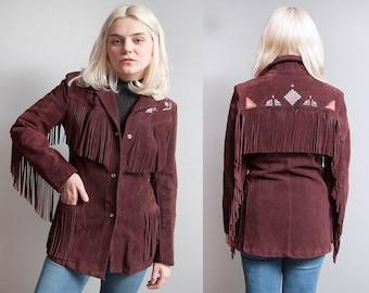 Vintage 1970's/1980's | Suede | Southwestern | Fringe | Pearl Snap Button | Jacket | S