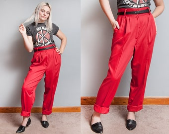 Vintage 1980's/1990's   Red   High Rise   High Waist   Never Worn   NWT   Pleated   Pants   M