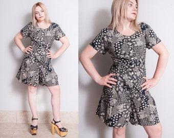 Vintage 1990's | Black | Floral | 100% Cotton | Shorts | Romper | Playsuit | M