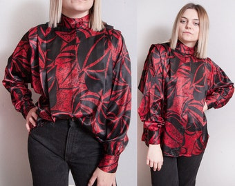 Vintage 1980's | Black & Red | Printed | Patterned | Button Down | Blouse | S/M
