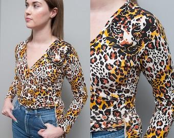 Vintage 1990's I Leopard Print I Cropped I Wrap Top I S