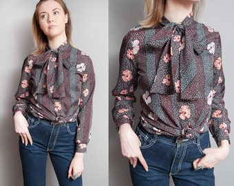 Vintage 1970's | Floral | Polka Dot | Ascot Collar | Blouse | Top | S