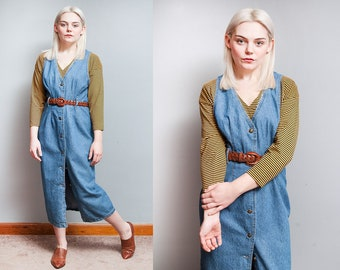 Vintage 1980's/1990's | Medium Wash | Denim | Jean | Jumper | Midi | Dress | S/M