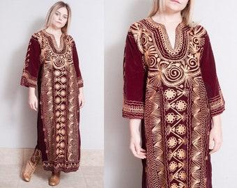 Vintage 1970's | Velvet | Gold Metallic Embroidery | Bohemian | Maxi | Dress | M