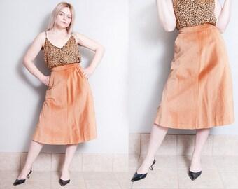 Vintage 1970's | Evan-Picone | Soft | Camel | Corduroy | Skirt | XS
