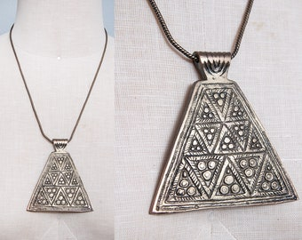 Vintage 1970's | Brass | Etched | Triangle Pendant | Ethnic | Boho | Necklace