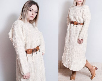 Vintage 1970's/1980's | Ivory | Woven | Wool | Maxi | One Size | Sweater | Dress | SML