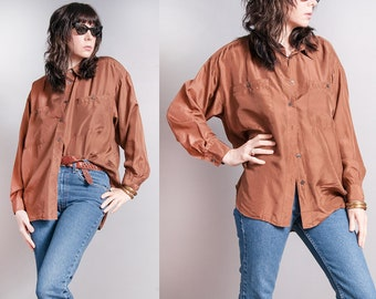 Vintage 1990's | OS | Brown | 100% Silk | Button Down | Minimalist | Blouse | OS or SML