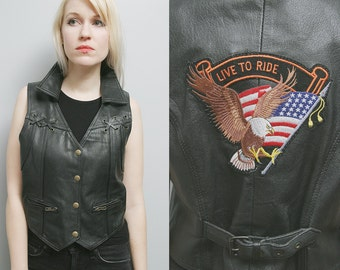 "Vintage 80's Unisex Black Leather Biker Easyrider Motorcycle Vest ""Live to Ride"" - L/XL"