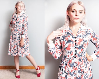Vintage 1960's/1970's | Butterfly Motif | Fit and Flare | Large Collar | Dress | XS/S