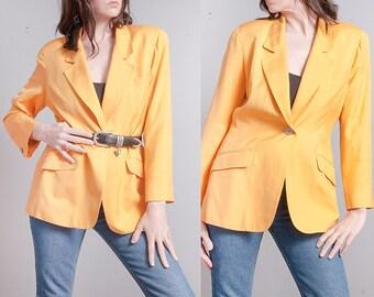 Vintage 1990's | Anne Klein | 100% Silk | Bright Yellow | Lightweight | Blazer | Jacket | OS or M