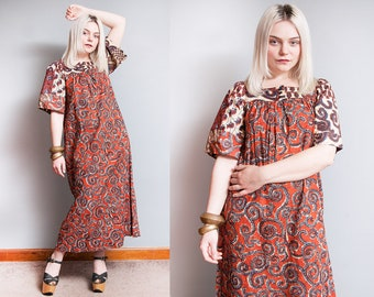 Vintage 1970's | Orange & Blue | Ethnic | Cotton | Bohemian | Hippie | Maxi | Dress | S