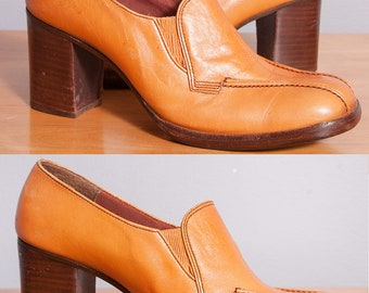 Vintage 1960's/1970's | Leather | Platform | Shoe | Made in Brazil | Size 7.5 to 8