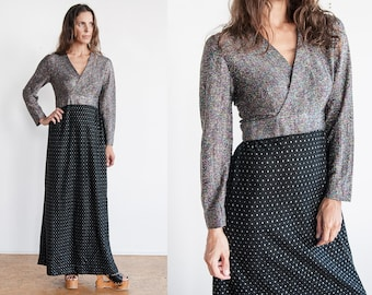 Vintage 1970's I Black | Metallic | Disco | Sparkle | Maxi | Dress | M/L
