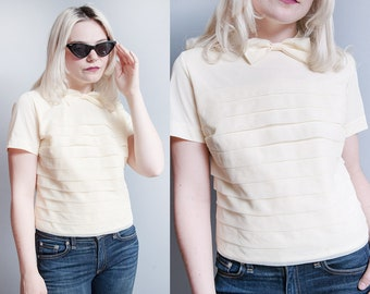 Vintage 1950's | Ivory | Bow Tie | Cropped | Blouse | Top | S
