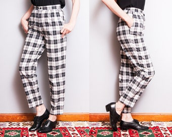 Vintage 1990's | Black & White | Plaid | 100% Cotton | High Waist | Pants | S
