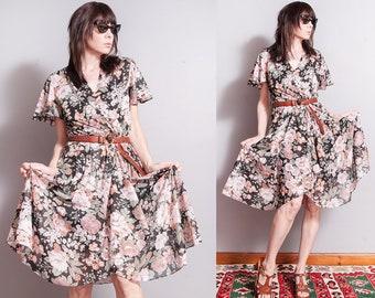 Vintage 1970's   Floral   Printed   Patterned   Sheer   Dress   M
