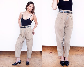 Vintage 1980's | Khaki | High Waist | Jordache  | 100% Cotton | Pleated | Pants | S