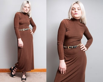 Vintage 1990's | Brown | Slinky | Fitted | Side Slit | Maxi | Dress | S