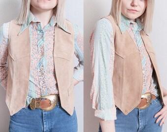 Vintage 1970's/1980's | Jordache | Blush | Suede | Cropped | Vest | XS/S