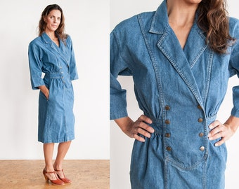 Vintage 1980's | Denim | Jean | Preppy | Dress | With Pockets |  S