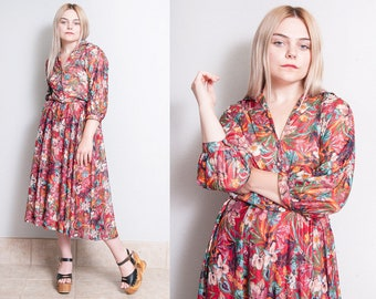 Vintage 1970's | Red | Floral | Sheer | Midi | Dress | M