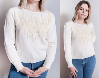 Vintage 1970's | Cream | Sequin & Beaded | Sparkle | Princess Sleeve | Pullover | Sweater | S