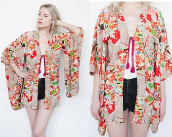 Vintage 1970's | Colorful | Mixed Pattern | Floral | Silk | Japanese | KImono | XS/S