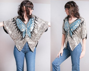 Vintage 1970's | Sequin | Butterfly | Silver & Blue | Disco | Silk | Top | L