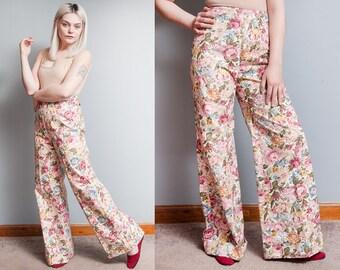 Vintage 1970's | Floral | High Rise | Super Wide | Bell Bottom | Pants | S