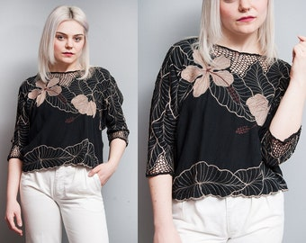 Vintage 1980's | Black | Embroidered | Cropped | Top | Netting Detail | S/M
