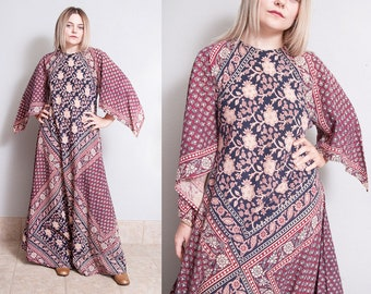 Vintage 1970's | Floral | India Cotton | Maxi | Dress | S/M