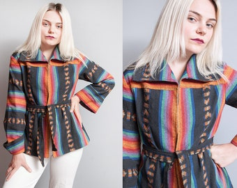 Vintage 1970's | Striped | Rainbow | Ethnic | Large Collar | Lightweight | Cotton | Jacket | S
