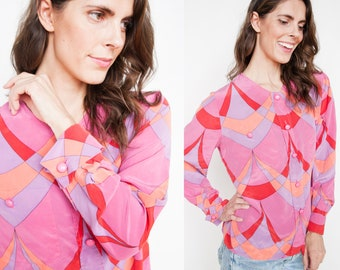 Vintage 1990's | Valentino | Colorful | Graphic Print | Silk | Blouse | M/L