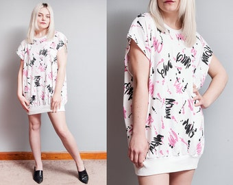Vintage 1980's | White Pink Black | Abstract | Print | New Wave | Tunic | Top | S/M/L or Oversized